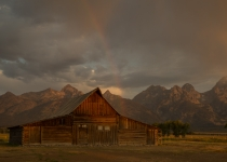 Class A Third Place, Rainbow over Moulton Barn by Sue Babin