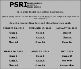 Competition and Class Selection Screen