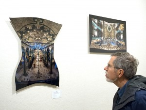 Dr. Ray Guillette viewing print of Panagia Isodion interior