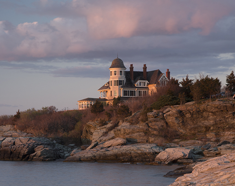 This is Castle Hill Inn in Newport; the sunlight was getting pinker and pinker toward sunset but in this image the clouds were not at their peak.