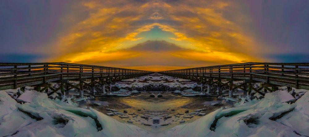 Cape Cod Boardwalk Abstract by Noreen Berthiaume