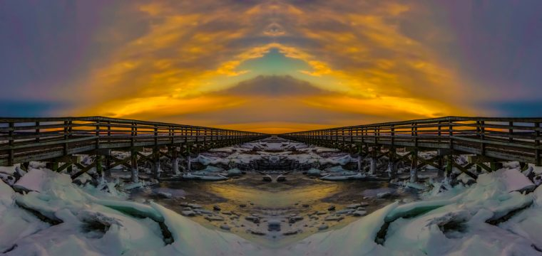 Cape Cod Boardwalk Abstract by Noreen Berthiaume